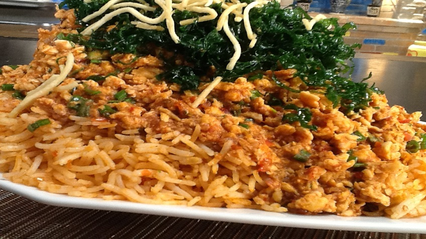triple szchuan rice, cripsy noodle and crackling spinach