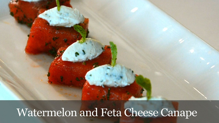 watermelon and feta canape