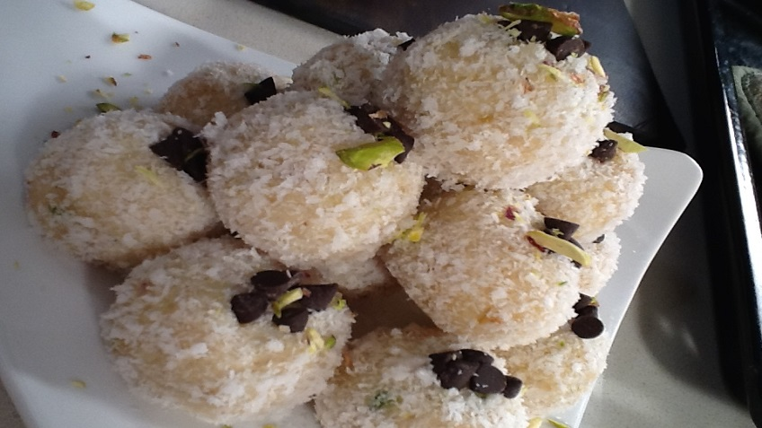 nariyal ladoo with condensed milk and whit pumpkin